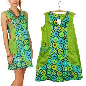 Green Geo & Blue Radial Pocket Sheath Dress L/XL